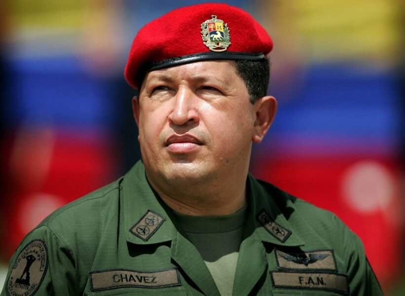 File photo of Venezuela's President Chavez wearing army uniform in Caracas