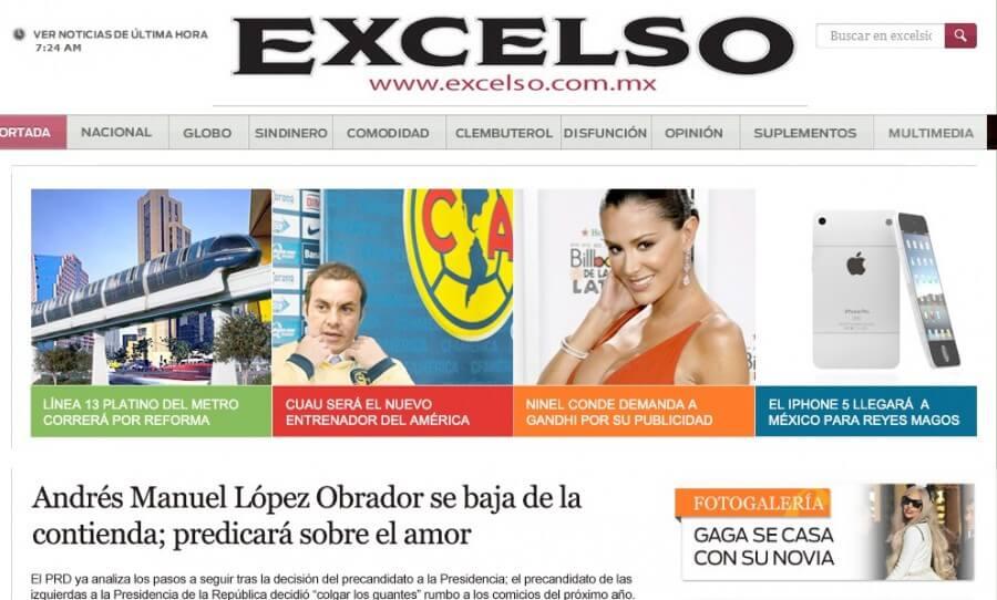Imagen del portal del periódico Excélsior.