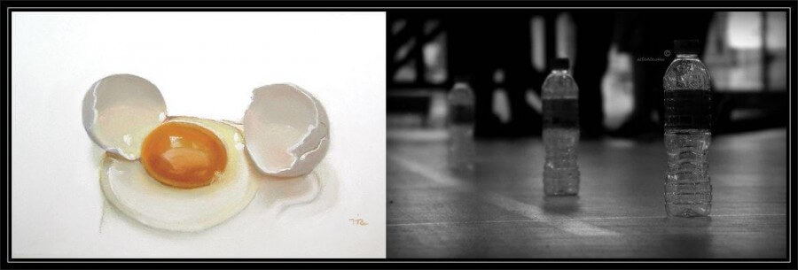 botella de agua y huevo