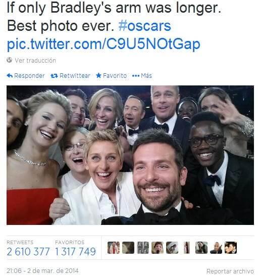 Selfie Ellen oscar 2014 beats record