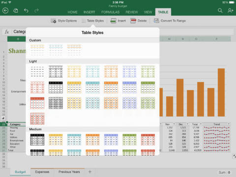 office excel for ipad