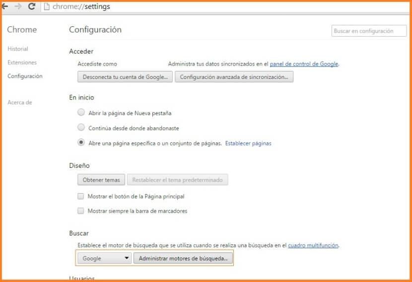 Configuración de búsqueda