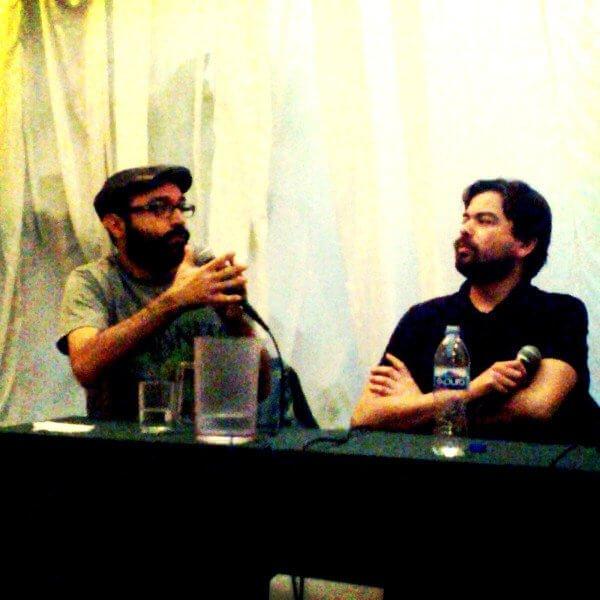 Bernardo Esquinca y Daniel Espartaco Sánchez hablando sobre escribir en México
