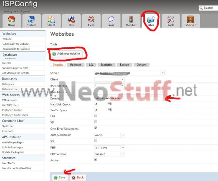 tutorial agregar sitio en web ispconfig