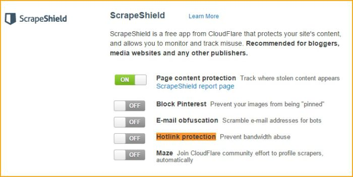configurar hotlink protection scrapeshield cloudflare