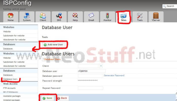 crear usuario base de datos ispconfig