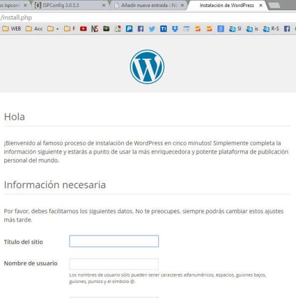 instalacion de wordpress ispconfig