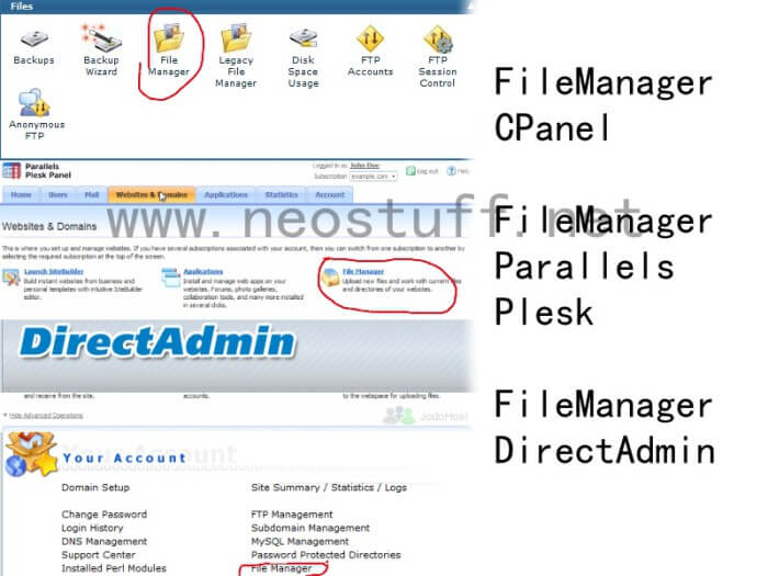 file manager cpanel parallels directadmin