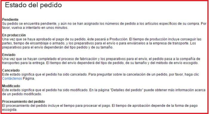 status dell en produccion- pendiente- enviado- cancelado