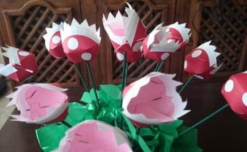Tutorial hacer flores piraña de mario bros en papel