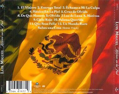 Portada trasera de México en la Piel - Luis Miguel 2004