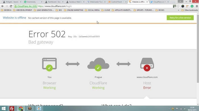error 502 en cloudflare - server down