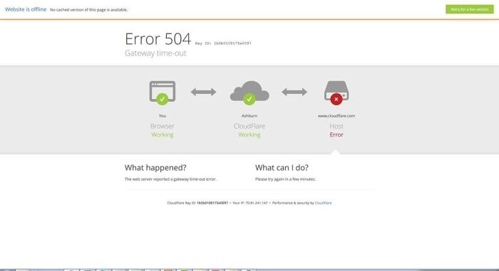 error 504 cloudflare se cae - down server