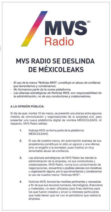 Comunicado donde la empresa MVS se deslinda de la iniciativa MexicoLeaks
