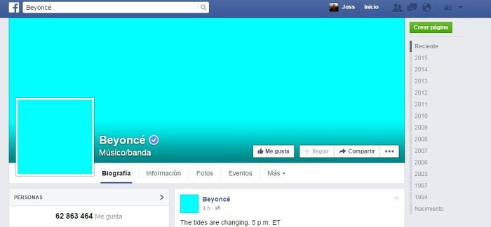 Facebook Beyoncé