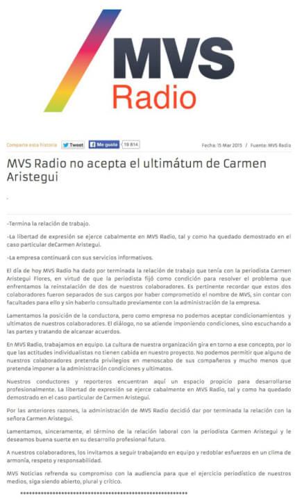Comunicado de MVS, en el cual no acepta las condiciones del equipo de Carmen Aristegui y da por terminado su contrato.