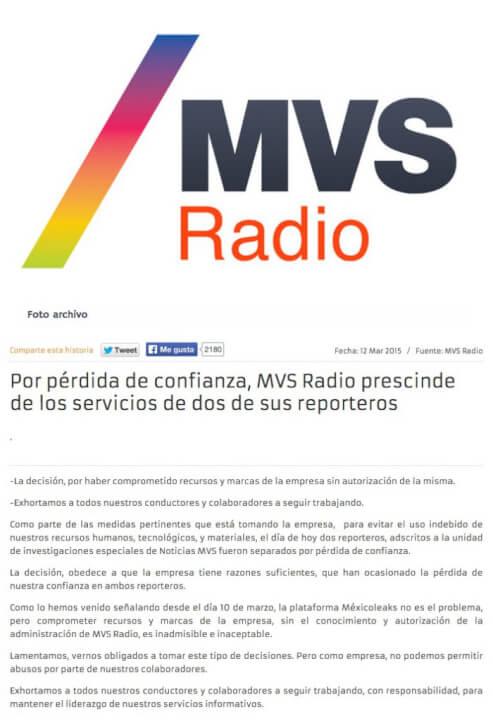 Comunicado donde MVS da por terminada su relación con los reporteros Daniel Lizárraga e Inving Huerta