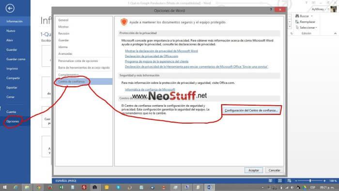 configurar centro de confianza Microsoft Office