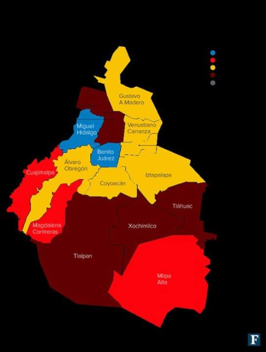 Mapa político DF elecciones 2015