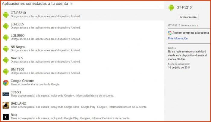 revocar permisos aplicaciones google