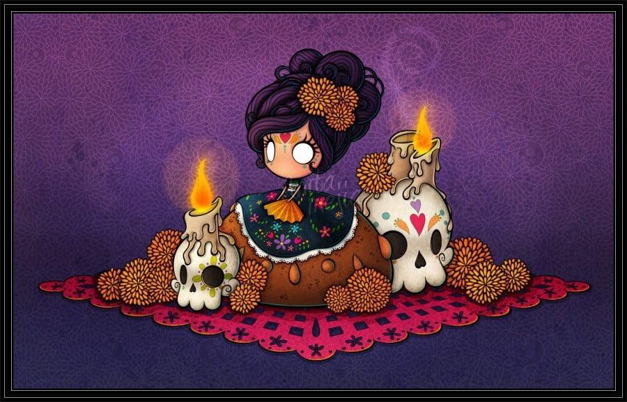Pequeña ofrenda para celebrar el 2 de Noviembre,Día de Muertos.