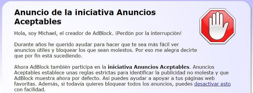 anuncios aceptables adblock
