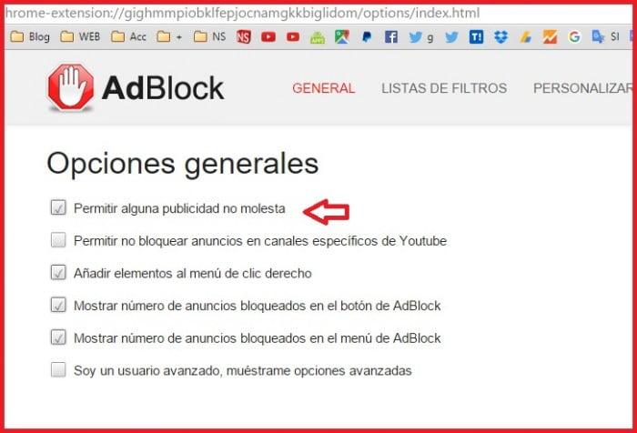 permitir o bloquear anuncios aceptables