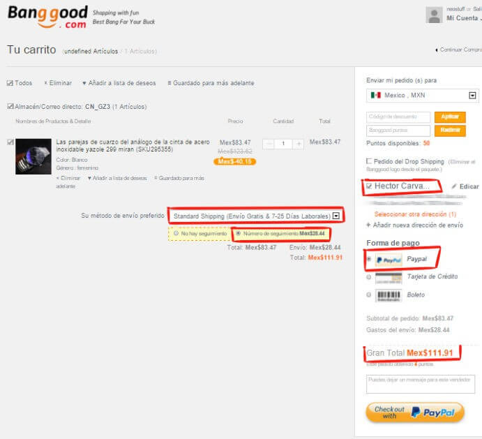 proceso de compra y envío a méxico banggood