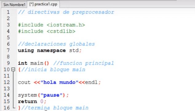 escribir hola mundo en c++