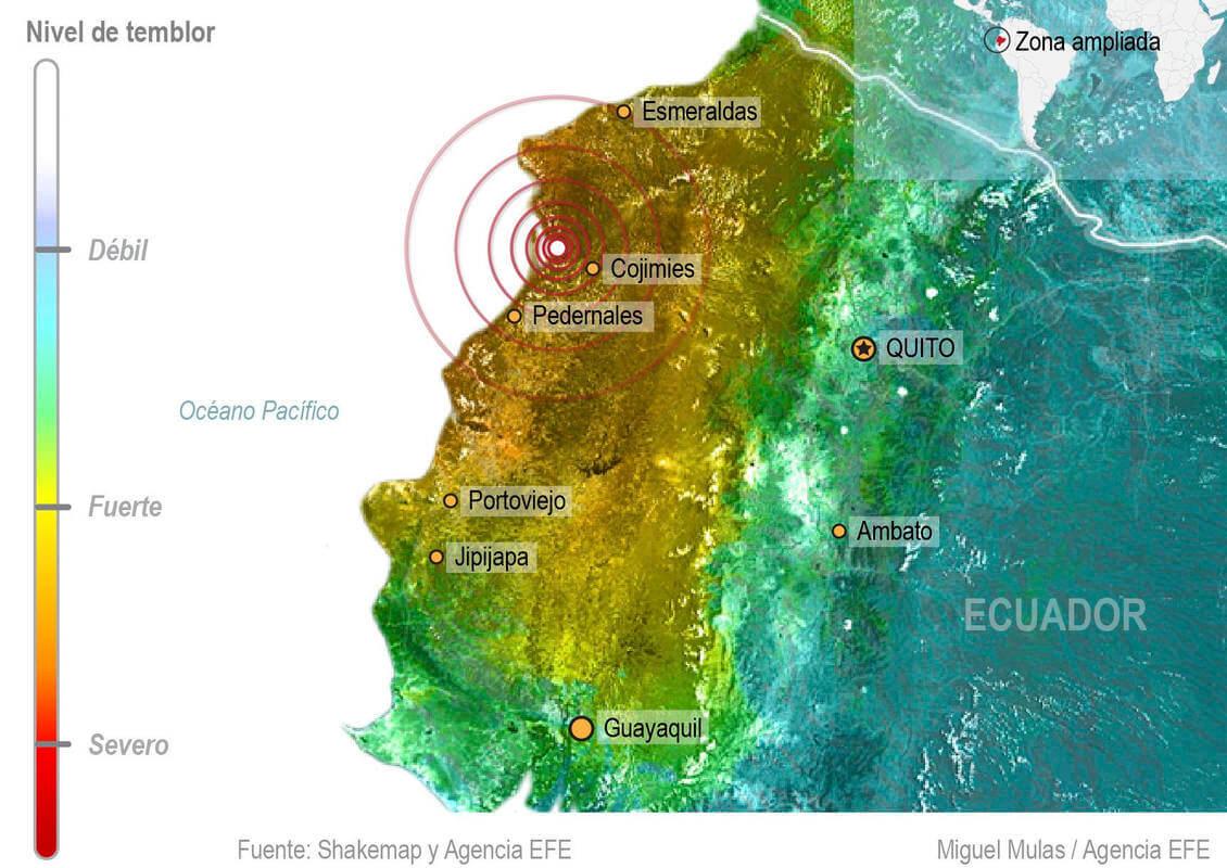 """GRA289. MADRID, 17/04/2016.- Detalle de la infografía de la Agencia EFE """"Terremoto de 7,8 grados en Ecuador"""" disponible en http://infografias.efe.com. EFE/"""