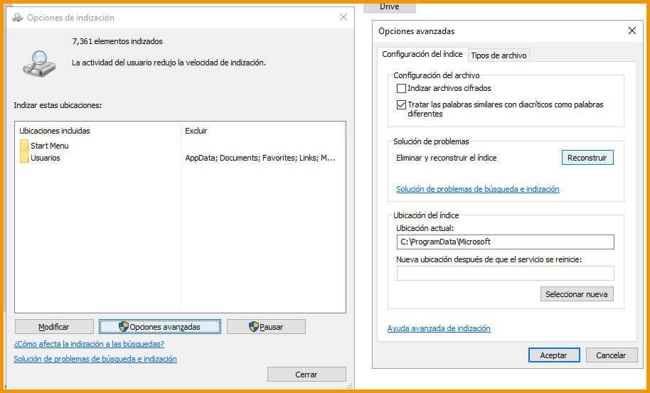 opciones de indizacion windows