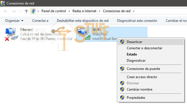 conexiones de red desactivar internet activar