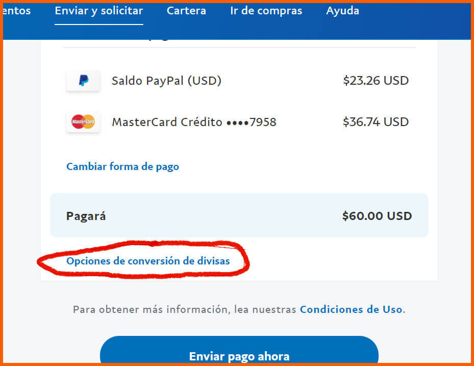conversion de divisas paypal